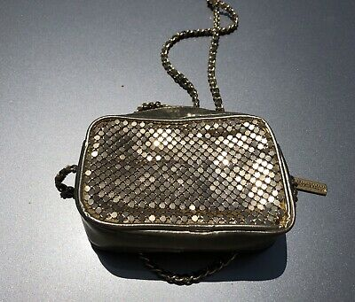 Vintage Whiting and Davis GOLD MESH COSMETIC BAG coin purse EVENING PURSE