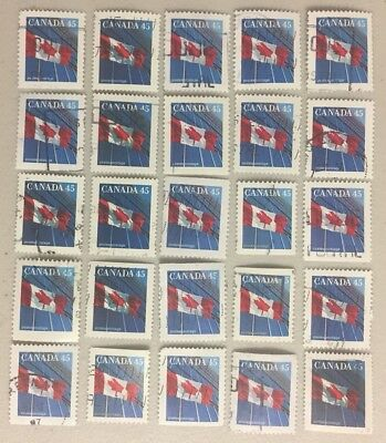 25 x CANADA 45c --- Canadian Flag Stamps CANCELLED / OFF PAPER