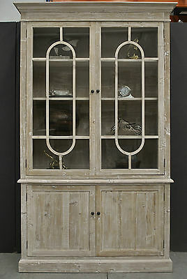 Rustic Whitewash Provincial Hamptons Beach Style Display *China Cabinet Bookcase