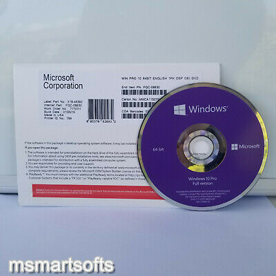 Microsoft Windows 10 Professional Pro x64 DVD OEM- Full Version