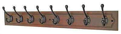 keypak Vintage 8-Hook Wall-Mounted Coat Rack, Antique Walnut, Black