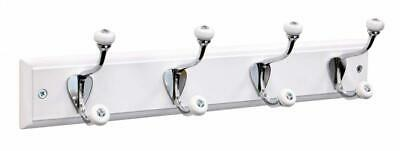 keypak 4-Hook Wall-Mounted Coat Rack, Ceramic Tip/Chrome/White 4 Hook