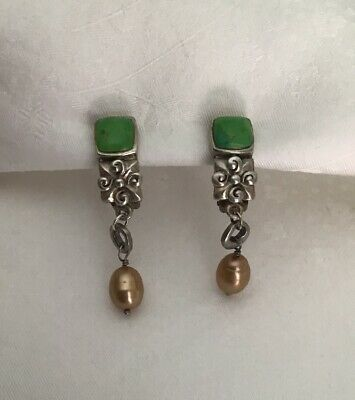 Vintage Signed Barse 925 Sterling Silver Pearl Drop Dangle Clip Earrings