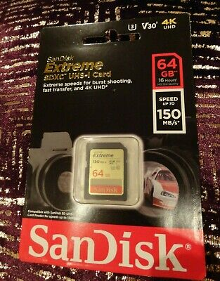 SanDisk 64GB EXTREME SDXC SD CLASS 10 MEMORY CARD U3 4K UHD 150MB/s R 60MB/s W