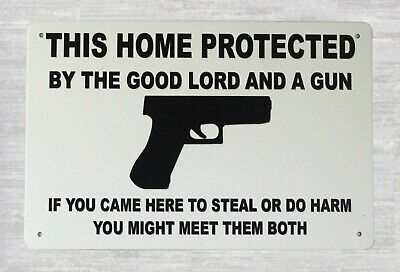 US Seller This home protected by good lord gun tin metal sign  tins sale