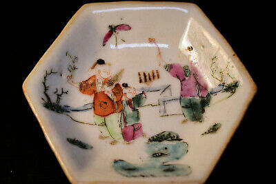 Chinese Antique Porcelain Miniature Footed Dish, Marked - 3.5 inches wide -
