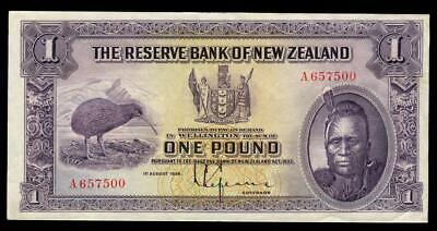 New Zealand - 1 Pound - First Prefix - Lefeaux - A657500 - Extremely Fine