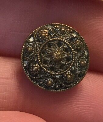brass gold tone filigree detailed antique vintage metal button #2086