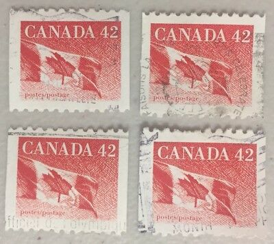 4 x CANADA 42c --- Canadian Flag Stamps CANCELLED / OFF PAPER