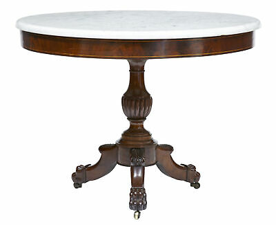 19Th Century William Iv Mahogany Marble Top Gueridon Table