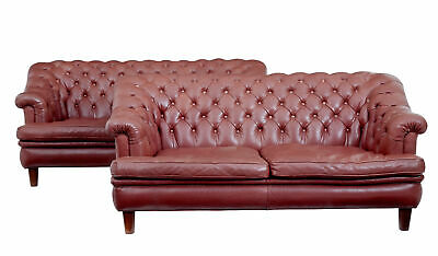 Pair Of Mid 20Th Century Red Leather Chesterfield Sofas
