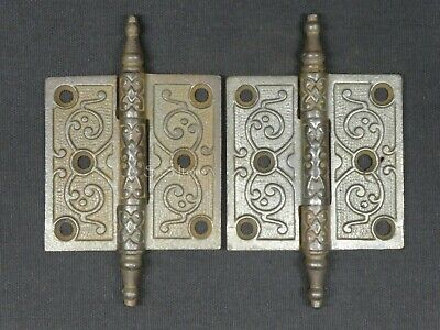 "2 x Antique Victorian Ornate Detailed Cast Iron Door Hinges 3"" x 3"""
