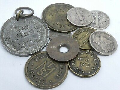 10 x Mixed Lot Antique Late 19th/Early 20th C Coins Tokens & Pendant Canada USA
