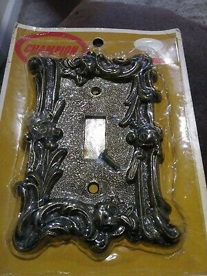 Vtg Ornate Mid Century Gold Tone Metal Light Switch Cover Plate Single
