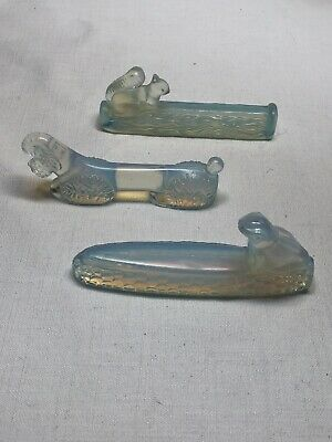 Sabino Art Glass Three Knife Rests (Squirrel, Poodle, & Frog)