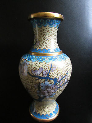 Vase Cloisonne Enamel Chinese Important Flowers Gold Trim Old Ming Dynasty? Rare