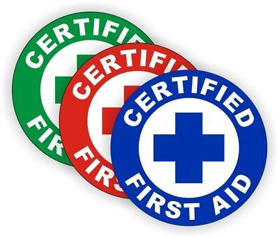 Certified First Aid Hard Hat Sticker / Helmet Decal Label Lunch Tool Box bumper