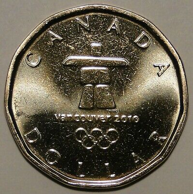 UNC Canada 2010 $1 dollar Vancouver Olympics lucky loonie coin