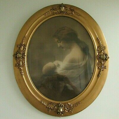 Picture Mother Mary Jesus Hughes Sarjeant Detoit 1901 Gold Rococo LG Frame Old