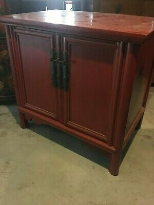 antique genine chinese medium size  red lacquer cabinet