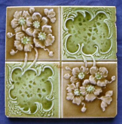 Antique Victorian Majolica Tile Green & Brown Flowers Quartered Tile
