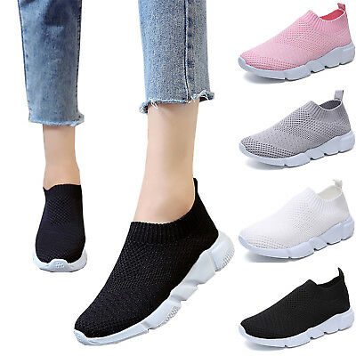 Womens Breathable Trainers Slip On Sports Sneakers Athletic Flats Running Shoes