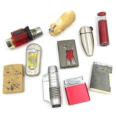 Vintage Lighters Lot of 10 pcs ZIPPO RONSON CONEY Pig TITAN CORDIAL MATCH & More