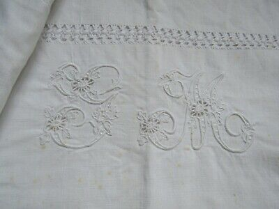 """Fabulous Pair Vintage French Large Square Embroidered Monogram """" G M """" Pierced"""