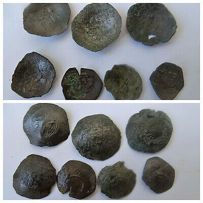 Lot Ancient Byzantine Medieval Cup Coins 7 pieces VC105