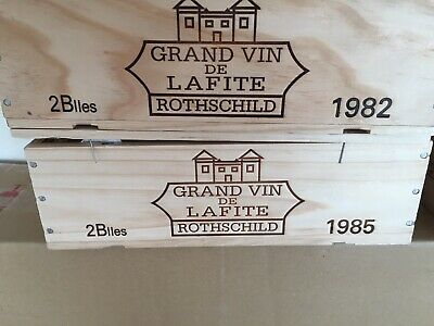 Lafite Rotschild 1985 2 Bottle Owc Wooden Box Petrus Mouton Drc