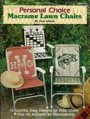 Vintage Personal Choice Macrame Lawn Chairs Book with 13 Patterns & Alphabet