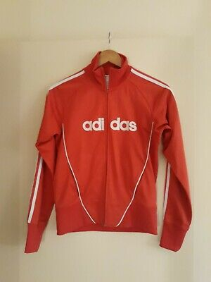 Adidas Red Jacket With White Stripes Womens Size 10
