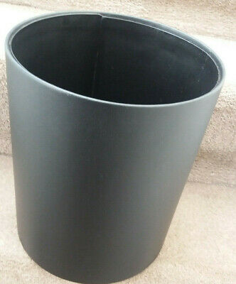 Black faux leather covered bin