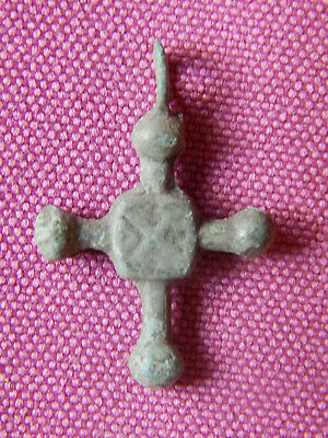 Ancient Bronze Pectoral Cross,Early Middle Ages, Hungarian / Carpathian Basin