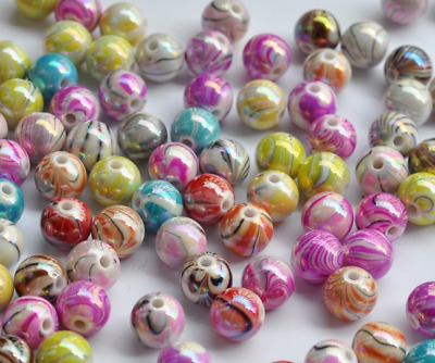 8-12mm Striped round Acrylic Beads Colorful Water Wood Grain Beads Top quality