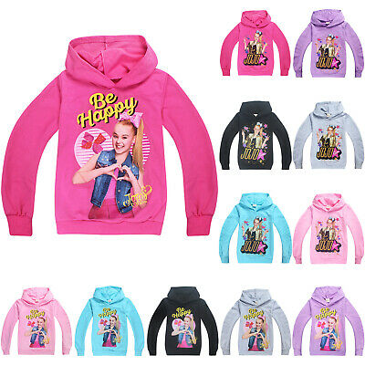 Kids Girl Jojo Siwa Hoodies Long Sleeve Hooded Pullover Outerwear Overcoat 4-12Y
