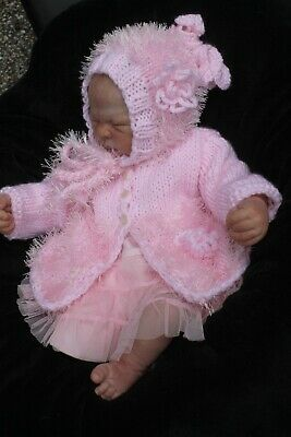 hand knitted baby girl  pink 1/2  fur  jacket and   hat   newborn or. 0/3 m