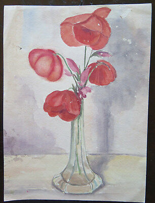 19x26cm Painting with Flowers Poppies Rossi Floral Opera Painter G.Pancaldi P14