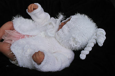 hand knitted baby girl  white fur  jacket and   hat   newborn or. 0/3 m