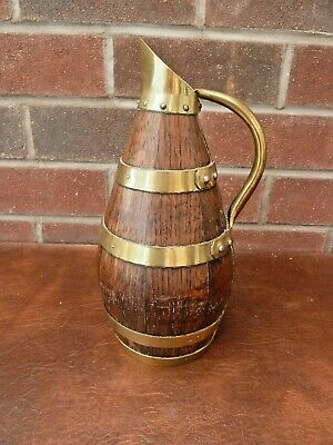 Vintage French Wooden Barrel Jug with Brass Handle and Bands