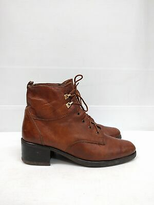 Sz 39 Vintage Ladies Brown VERONELLA ITALY Lace up Leather ankle boots