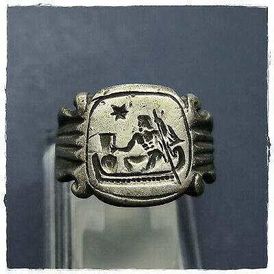 **  CHARON ** ancient LEGIONARY SILVER Greek-Roman ring !!! 7,94g