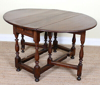 Antique Oak Gateleg Dining Table Arts & Crafts 19th Century Carved Dropleaf