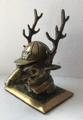 Rare Antique Bronze Stags Head Inkwell & Pen Rest @ 1880