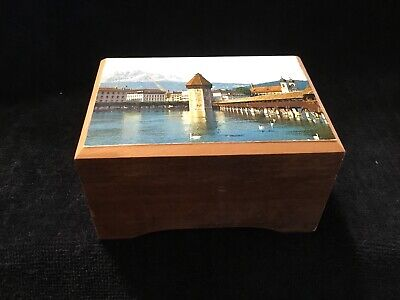 Cuendet #18303 Wood Music Box ~ Plays Edelweiss ~ Swiss Musical Movement ~ Works