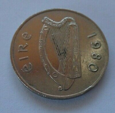 IRISH HARP and SALMON Eire Ireland 10p - ten pingin / pence coin 1980 - Ref 037