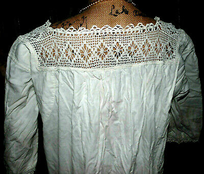 Antique Victorian Romantic Embroidered Ornate Crochet Dress Nightgown L as is