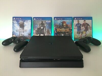Sony PlayStation 4 Slim 1TB Matte Black Console TWO Controllers FOUR Games NEW!!