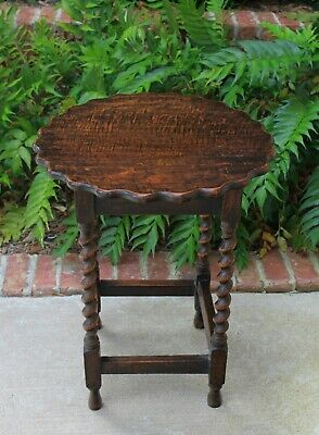 Antique English Oak BARLEY TWIST Table ROUND End Table Lamp Occasional Table