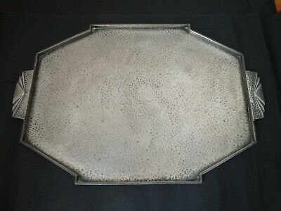 C.W.F. C W FLETCHER SHEFFIELD HAMMERED PEWTER ART DECO COCKTAIL DRINKS TRAY 30s